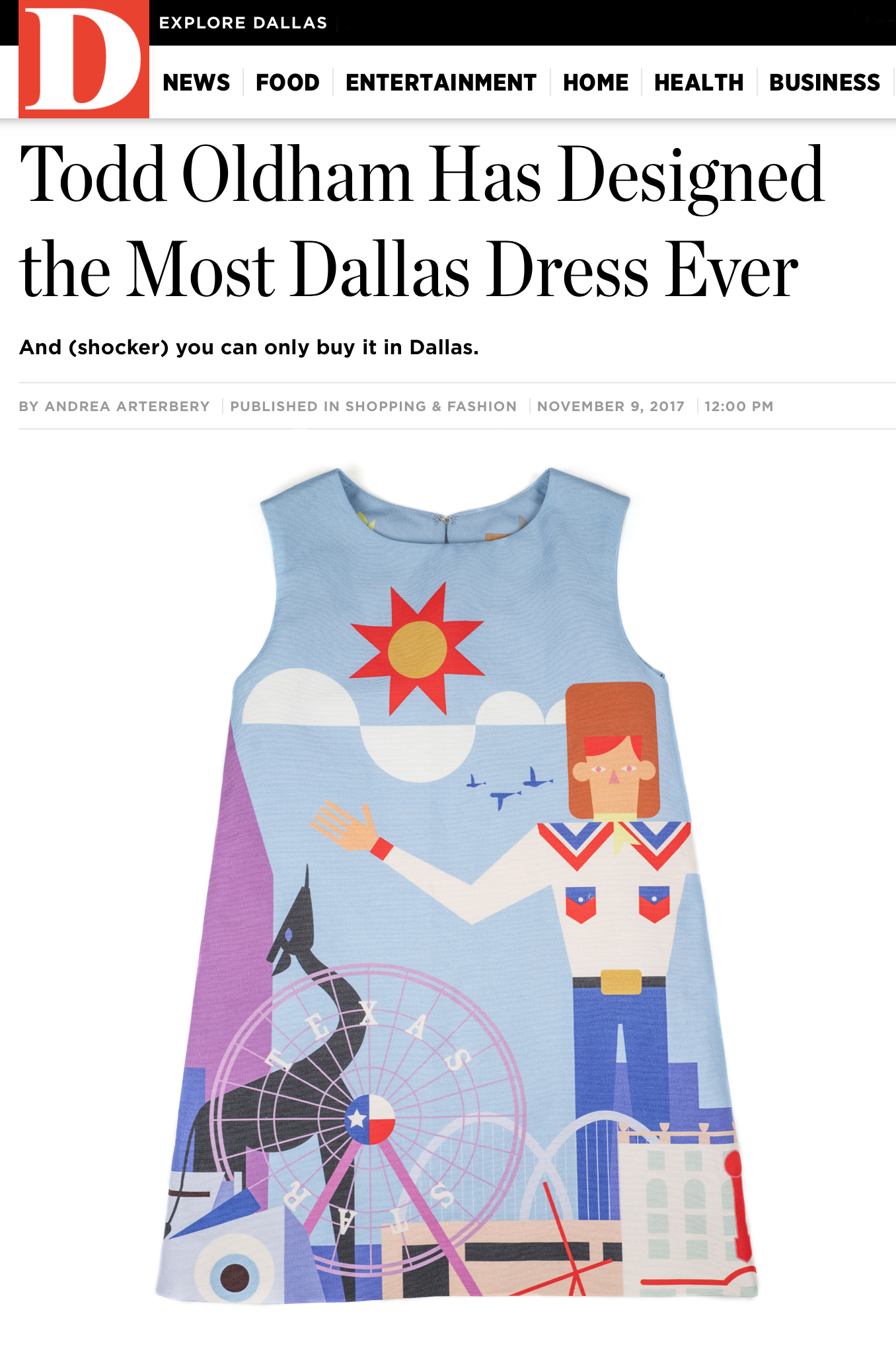 Fashion todd oldham studio which is available exclusively at forty five ten in dallas the dress features iconic dallas landmarks and symbols on a backdrop of a texas blue sky buycottarizona Images